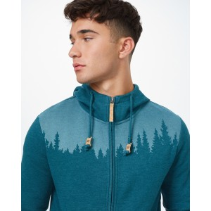 tentree Juniper Zip Hoodie Mens in Deep Teal Heather