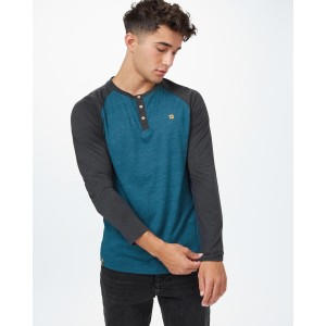 Tendon Ropes Henley Classic Longsleeve Mens in Deep Teal Heather/Meteorite Black Heather