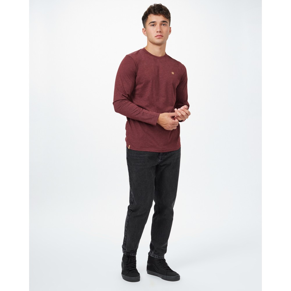 tentree TreeBlend Classic Longsleeve Shirt Mens Red Mahogany Heather