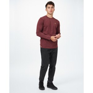 tentree TreeBlend Classic Longsleeve Shirt Mens in Red Mahogany Heather