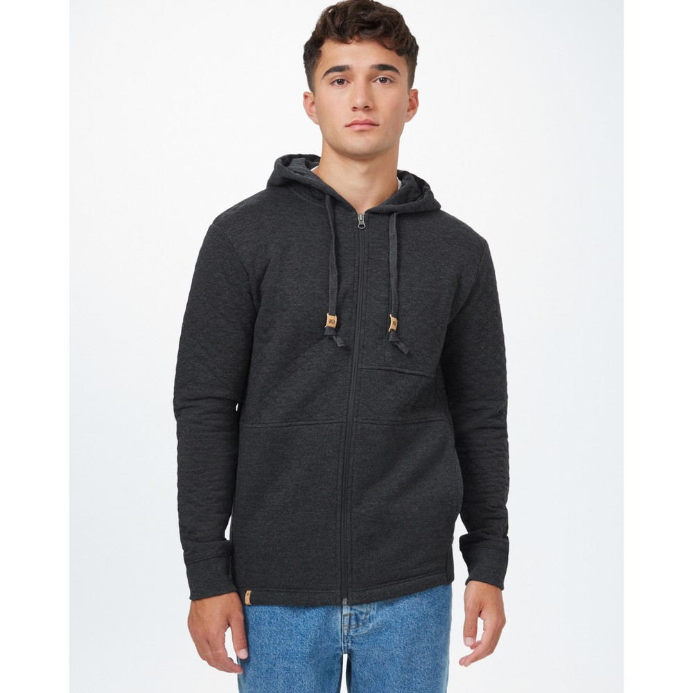 tentree Quilted Zip Hoodie Mens Meteorite Black Heather
