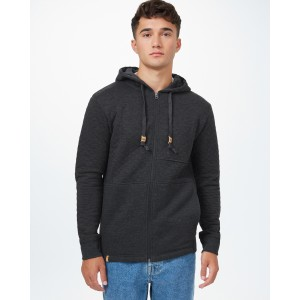 tentree Quilted Zip Hoodie Mens in Meteorite Black Heather