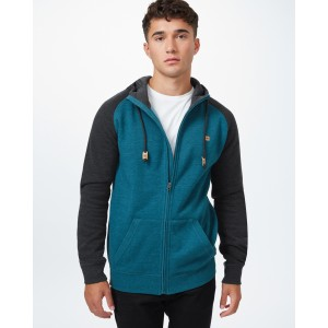 tentree Oberon Zip Hoodie Mens in Deep Teal Heather/Meteorite Black Heather