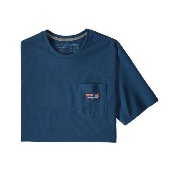 Patagonia Boardshort Label Pocket Responsibili-Tee Mens Crater Blue