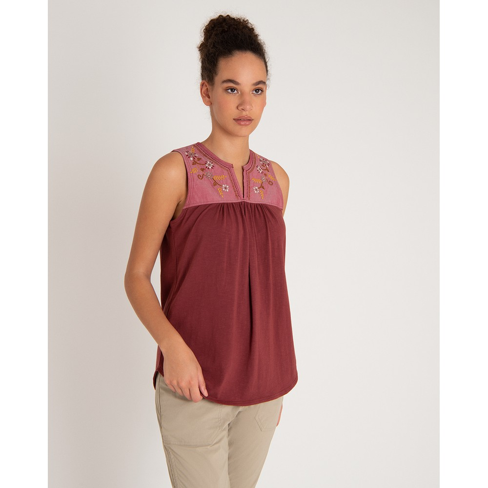 Sherpa Shanti Embroidery Top Womens Ganden Red