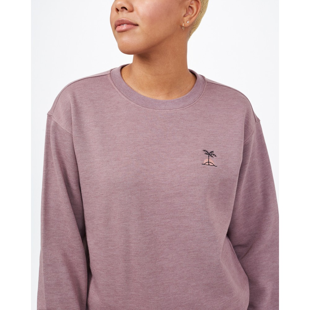 tentree Palm Sunset Embroidery Crew Womens Twilight Mauve