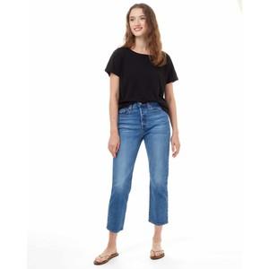 Ribbed Scoop Neck T-Shirt Womens Meteorite Black