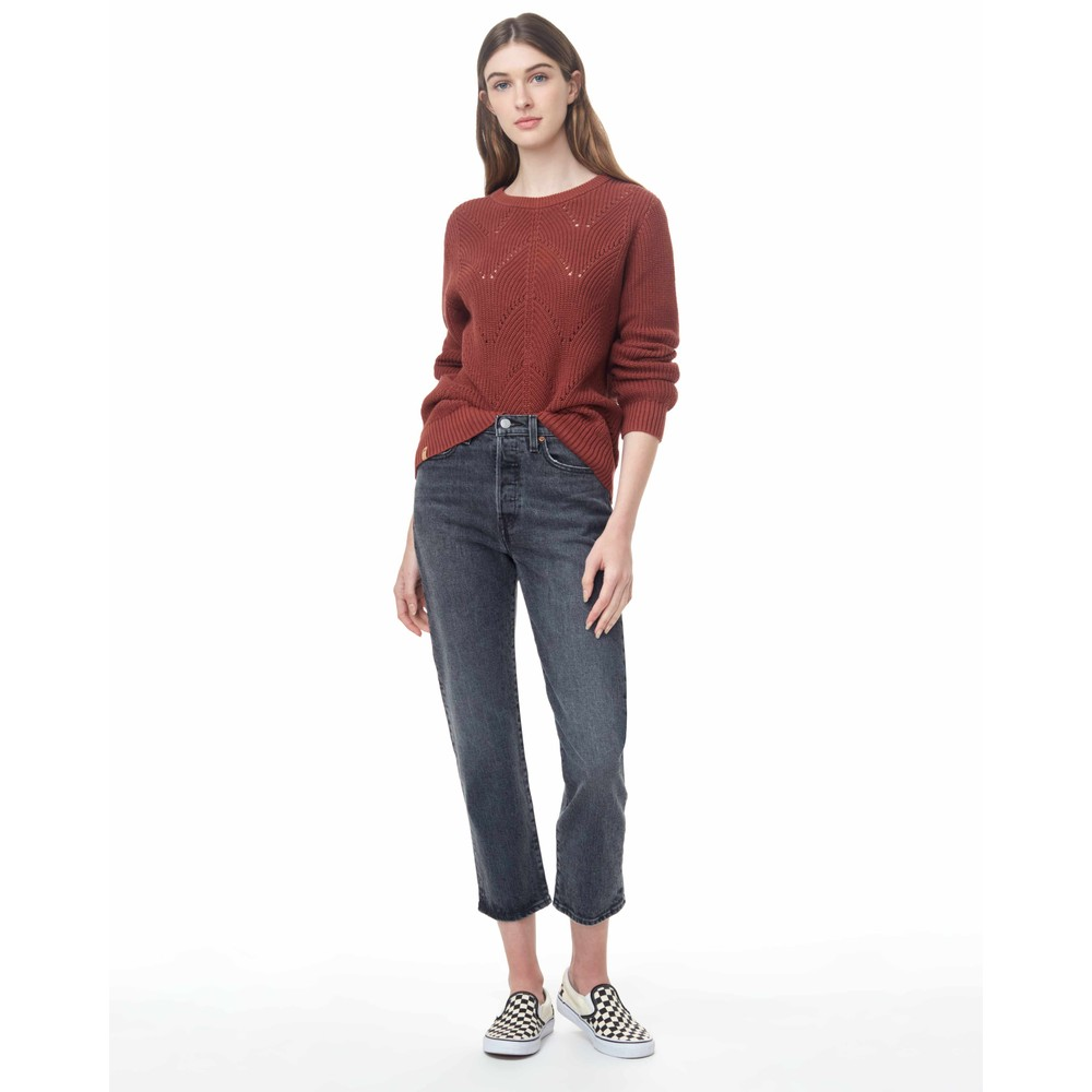 tentree Highline Cotton Scalloped Crew Sweater Womens Henna Red