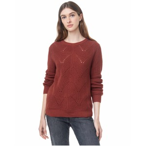Highline Cotton Scalloped Crew Sweater Womens Henna Red