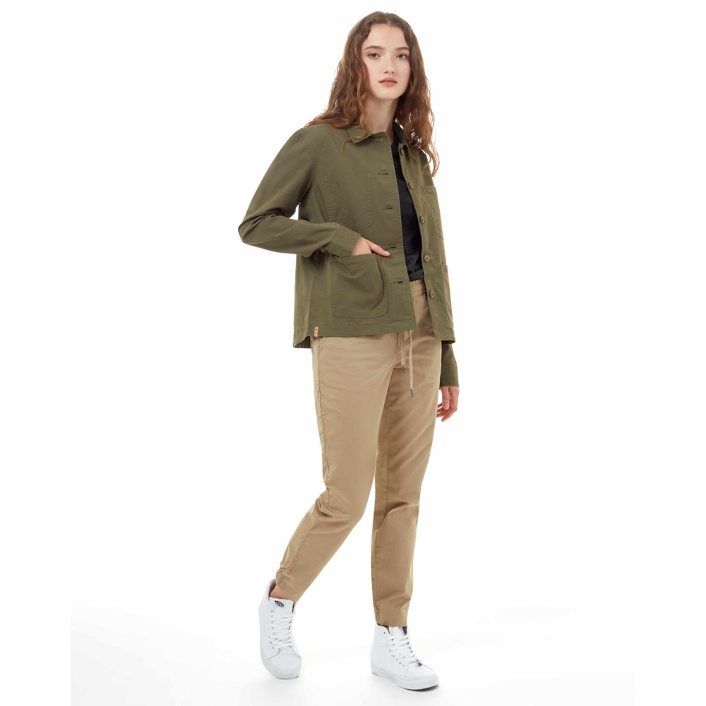 tentree Canvas Utility Jacket Womens Olive Night Green