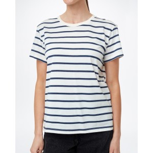 tentree Breton Stripe T-Shirt Womens in Elm White/Dress Blue