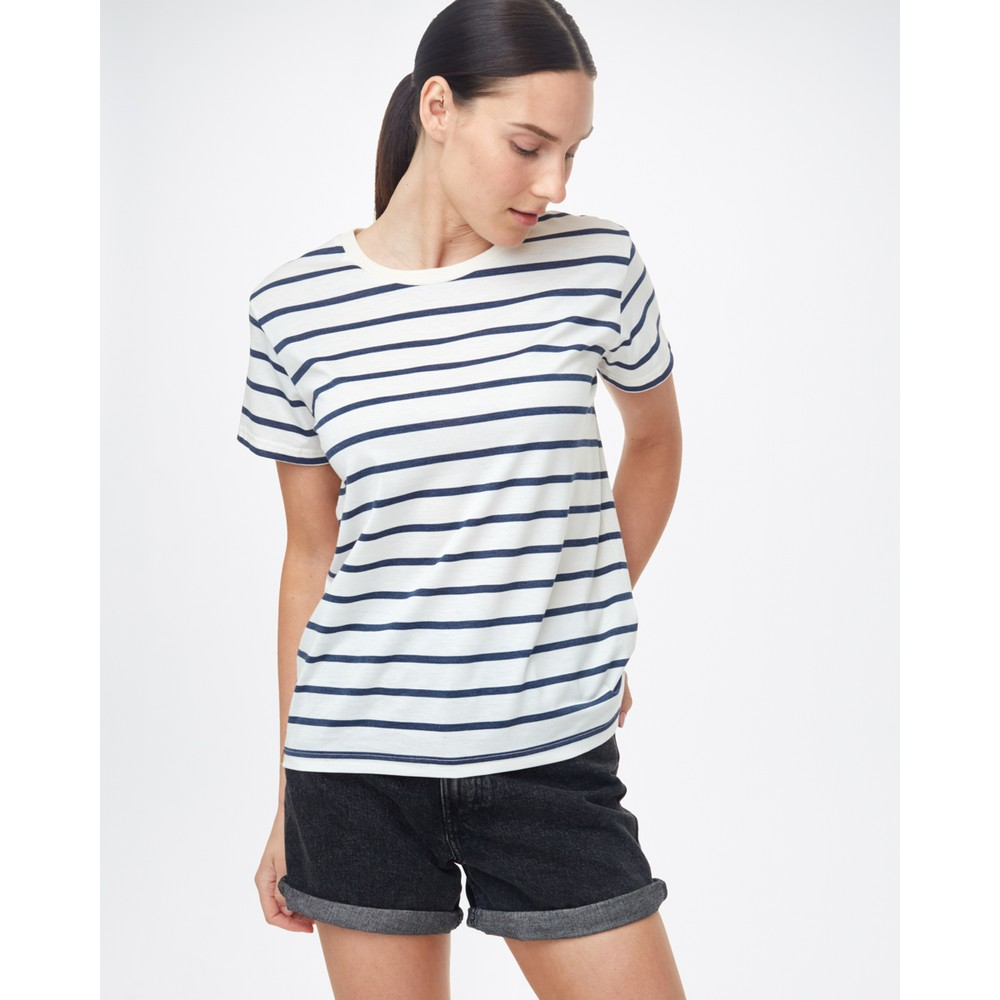tentree Breton Stripe T-Shirt Womens Elm White/Dress Blue