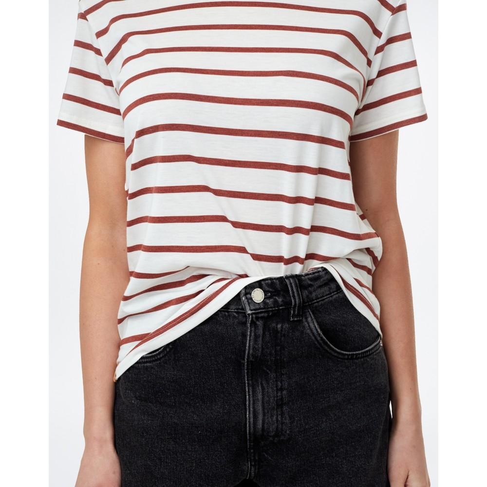 tentree Breton Stripe T-Shirt Womens Elm White/Henna Red