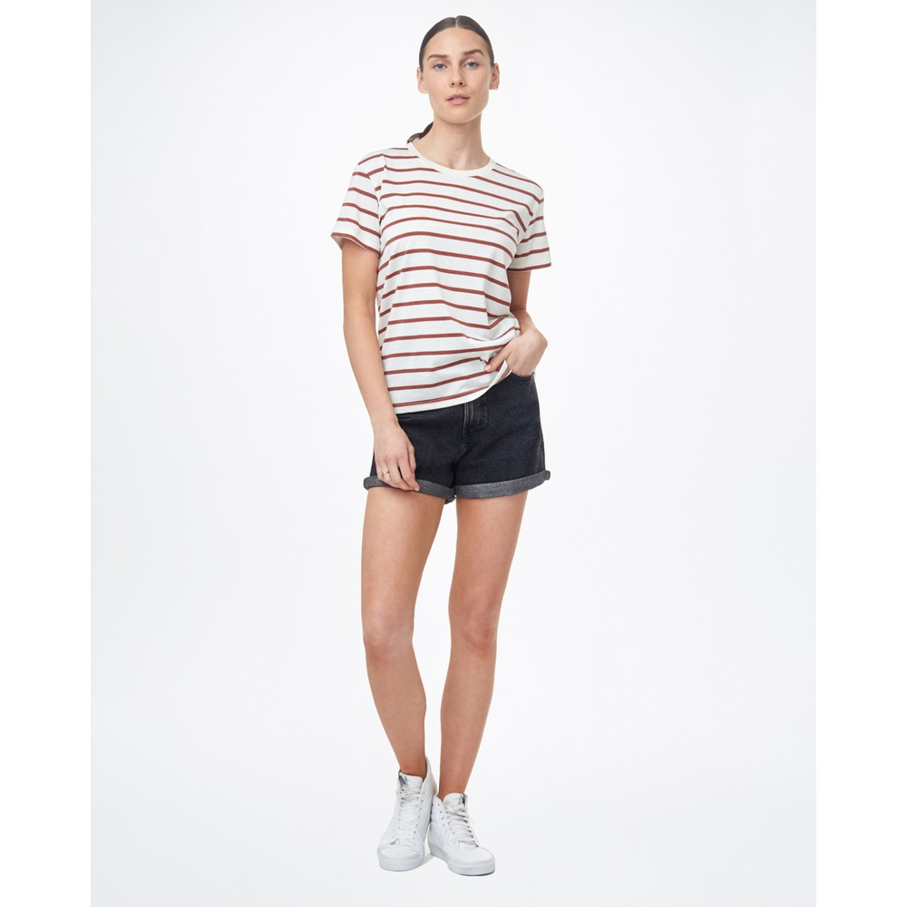 tentree Breton Stripe T-Shirt Womens Elm White/Henna Red