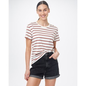 tentree Breton Stripe T-Shirt Womens in Elm White/Henna Red