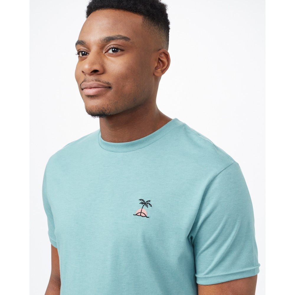 tentree Palm Sunset Embroidery T-Shirt Mens Sea Cliff Blue