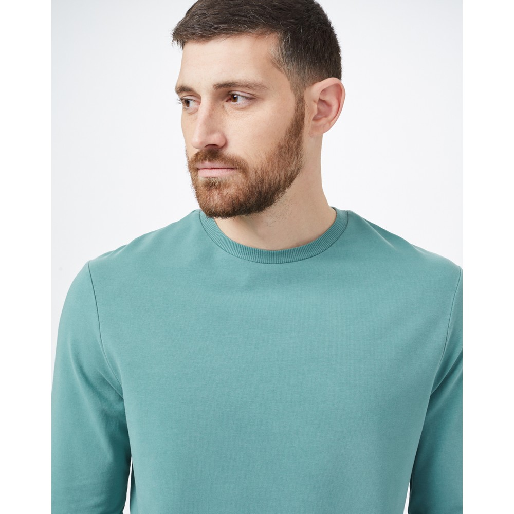tentree French Terry Classic Crew Mens Sea Cliff Blue