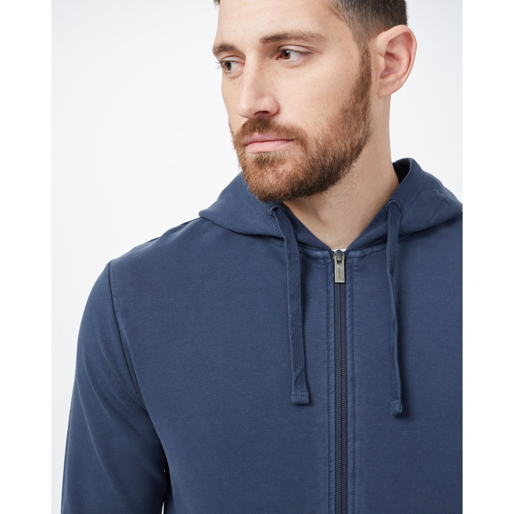 tentree French Terry Zip Hoodie Mens Dress Blue