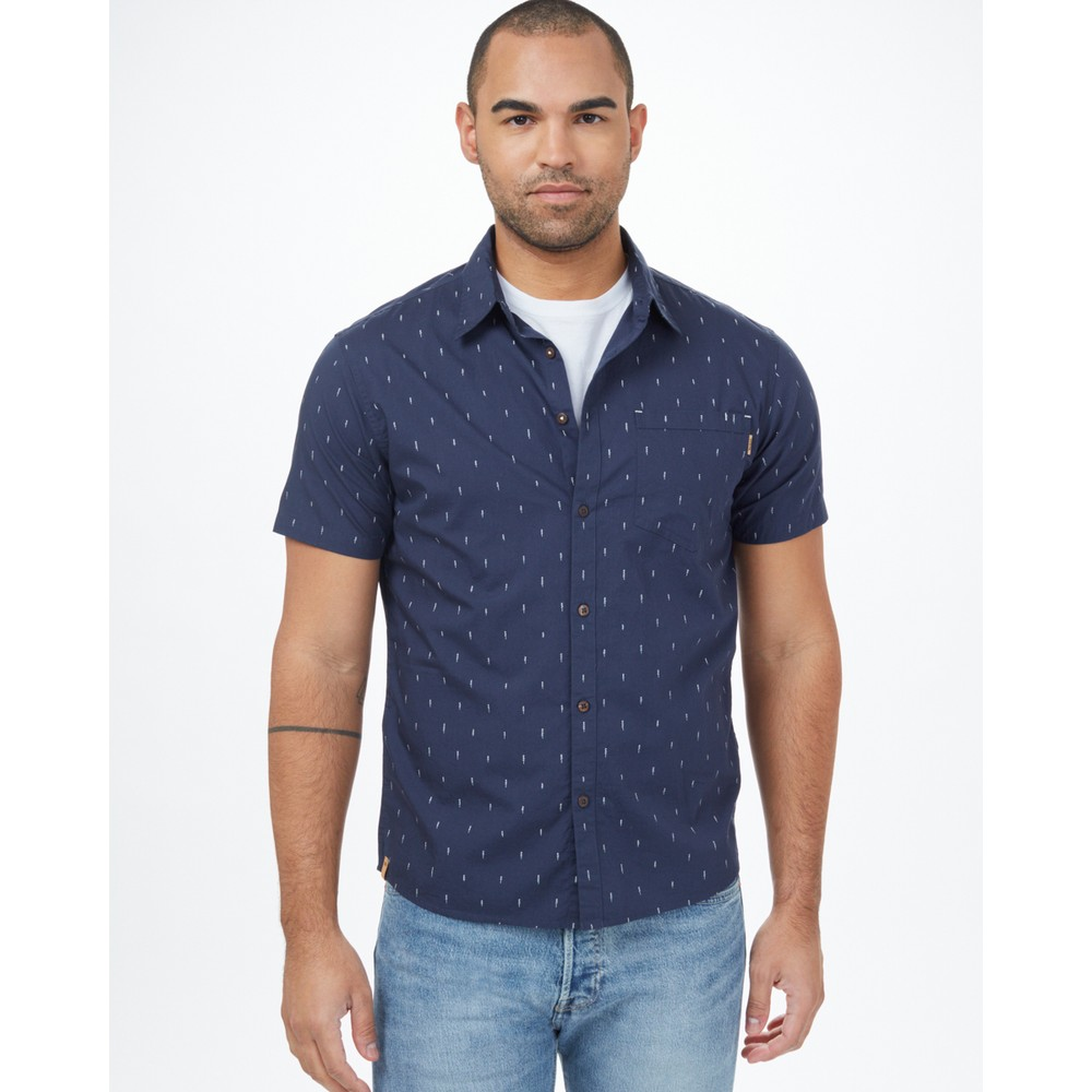 tentree Cotton Short Sleeve Button Up Mens Dress Blue Small Tree