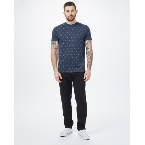 Bike Around Print T-Shirt Mens Dress Blue Heather