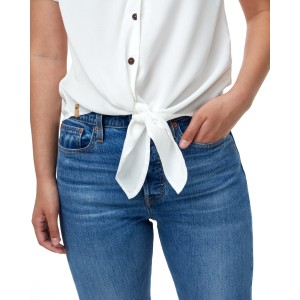 Meander Tie Front Shirt Womens White