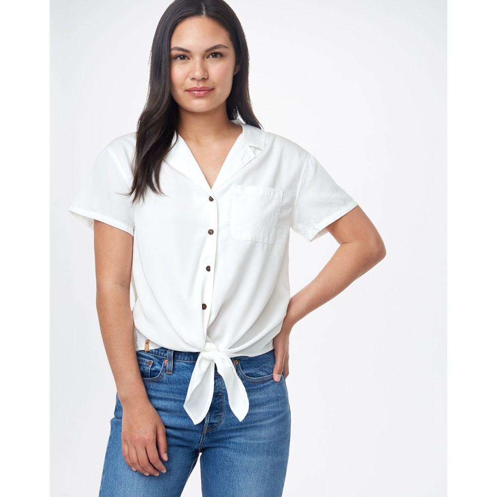 tentree Meander Tie Front Shirt Womens White