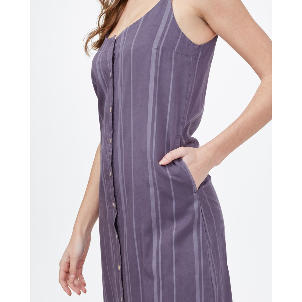 tentree Sundance Maxi Dress Womens Periscope Grey Breeze Stripe