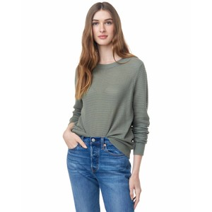 tentree Highline Cotton Rib Crew Sweater Womens in Agave Green