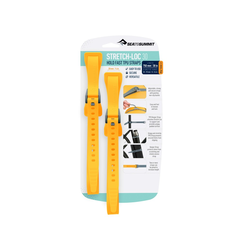 Sea To Summit Stretch-Loc 30 - 20mm x 750mm 2Pack Yellow