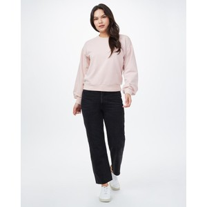 French Terry Balloon Sleeve Crew Womens Sepia Rose Pink