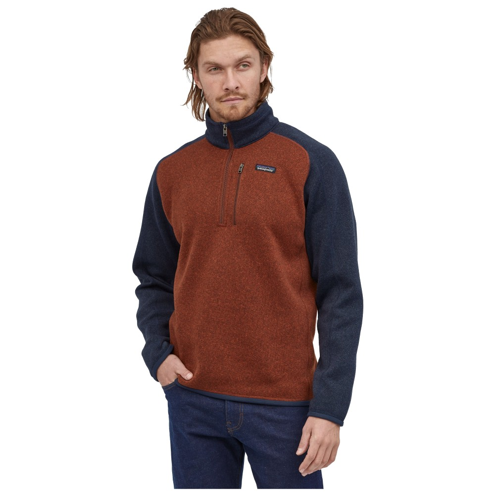 Patagonia Better Sweater 1/4 Zip Mens Barn Red w/New Navy