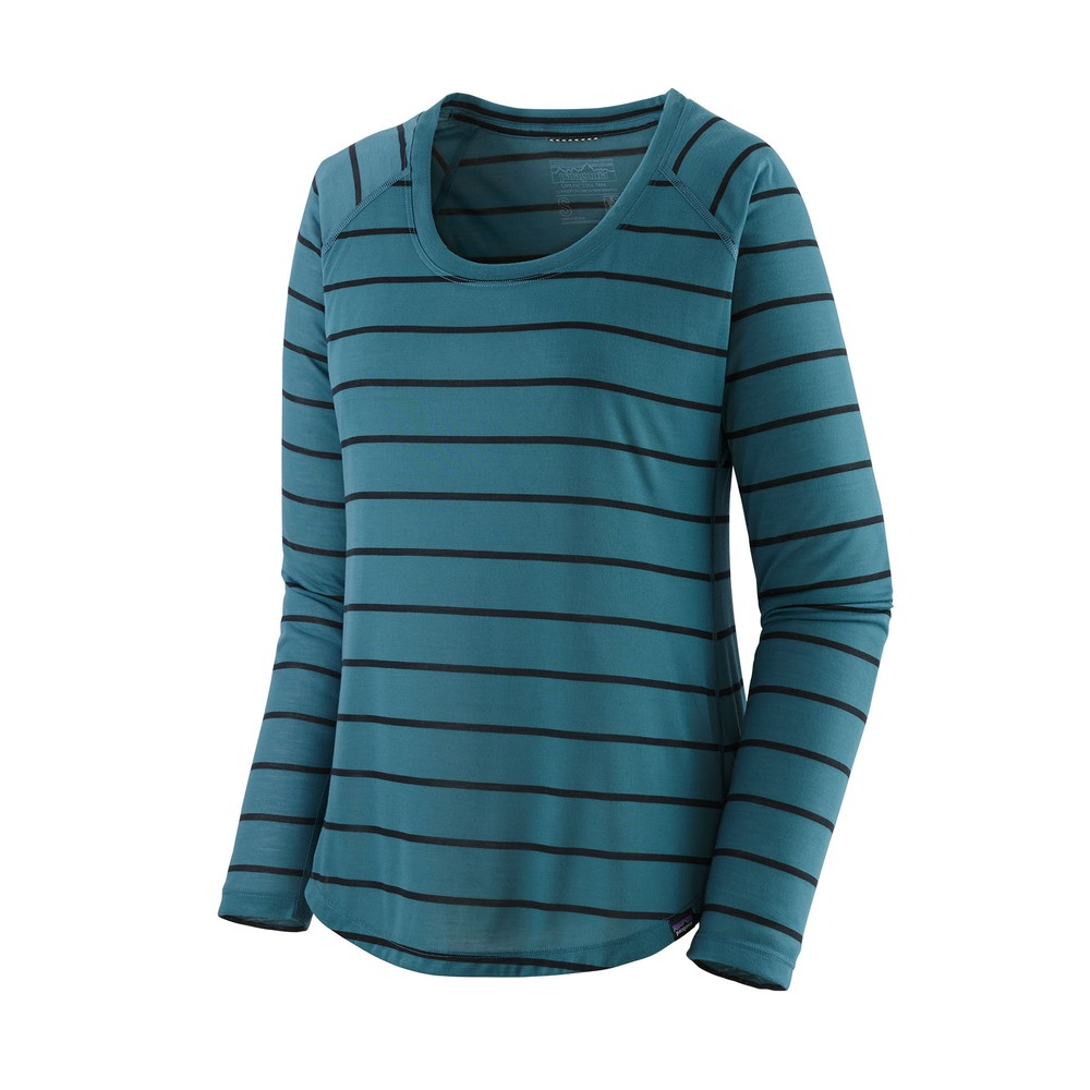 Patagonia LS Cap Cool Trail Shirt Womens Furrow Stripe:Abalone Blue