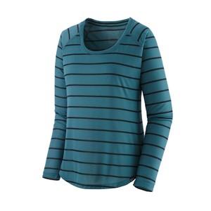 LS Cap Cool Trail Shirt Womens Furrow Stripe:Abalone Blue