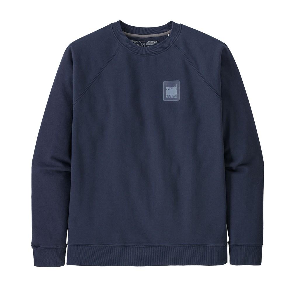 Patagonia Alpine Icon Regenerative Organic Pilot Cotton Crew Sweatshirt Mens New Navy