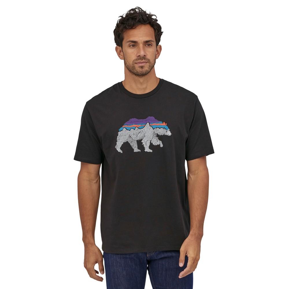 Patagonia Back for Good Organic T-Shirt Mens Black w/Bear