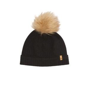 Wool Faux Fur Pom Beanie Meteorite Black