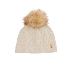 Wool Faux Fur Pom Beanie Oatmeal