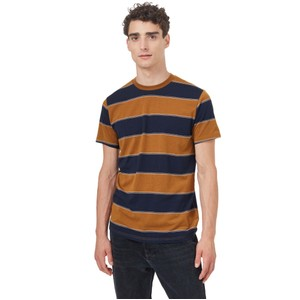 tentree Rugby Stripe T-Shirt Mens in Rubber Brown/Midnight Blue Rugby Stripe