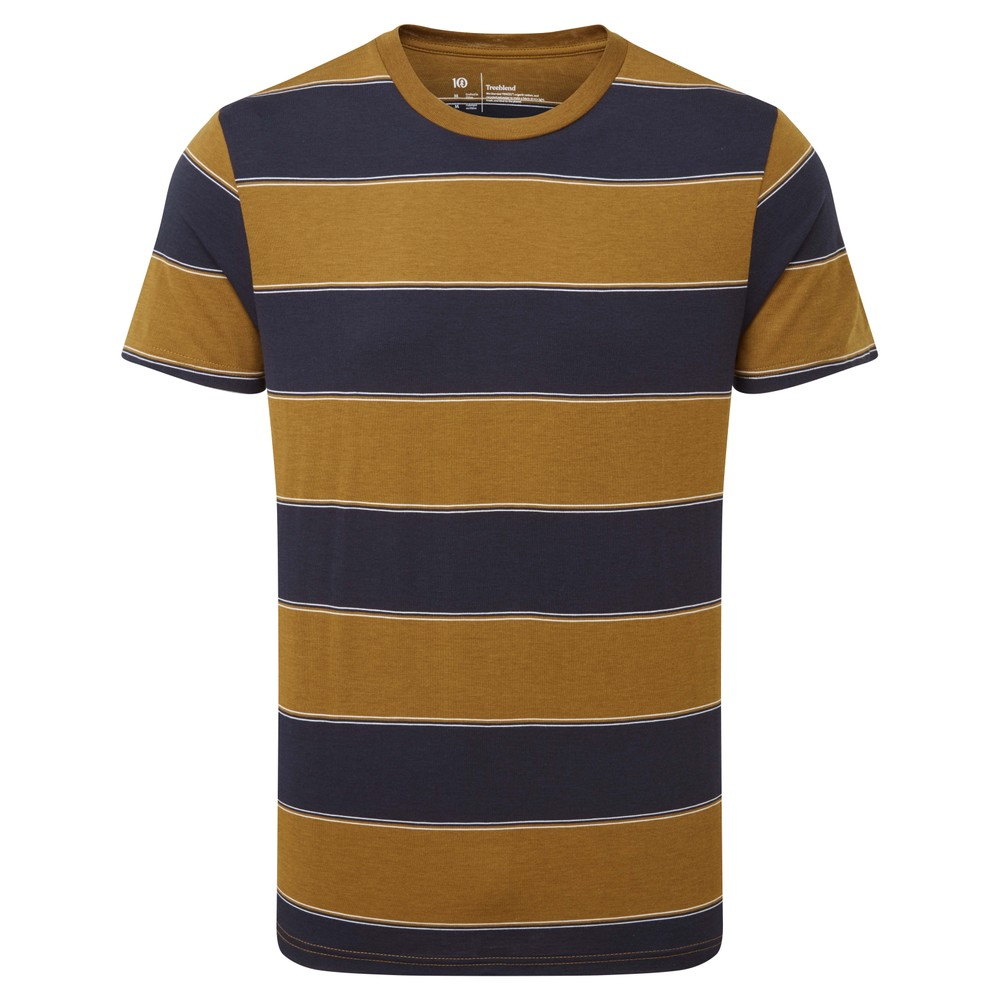 tentree Rugby Stripe T-Shirt Mens Rubber Brown/Midnight Blue Rugby Stripe