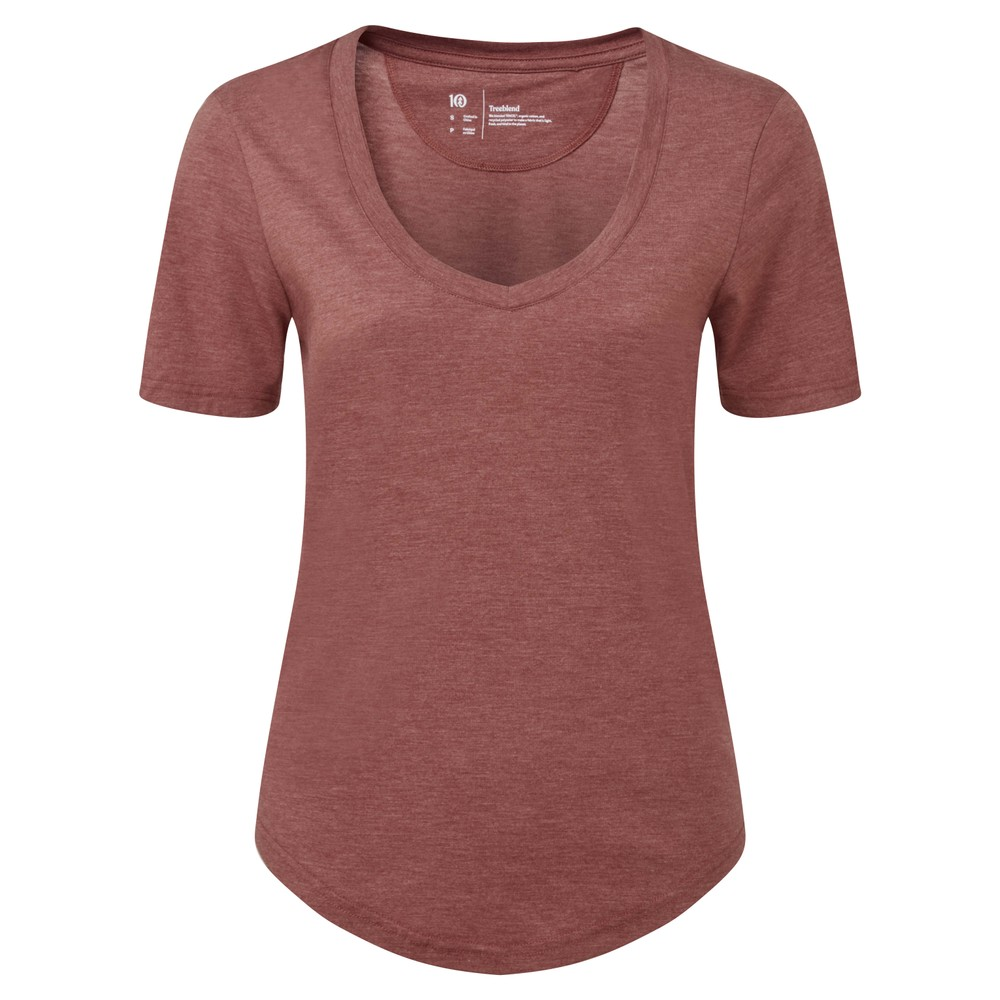 tentree Treeblend V-Neck T-Shirt Womens Apple Butter Red Heather