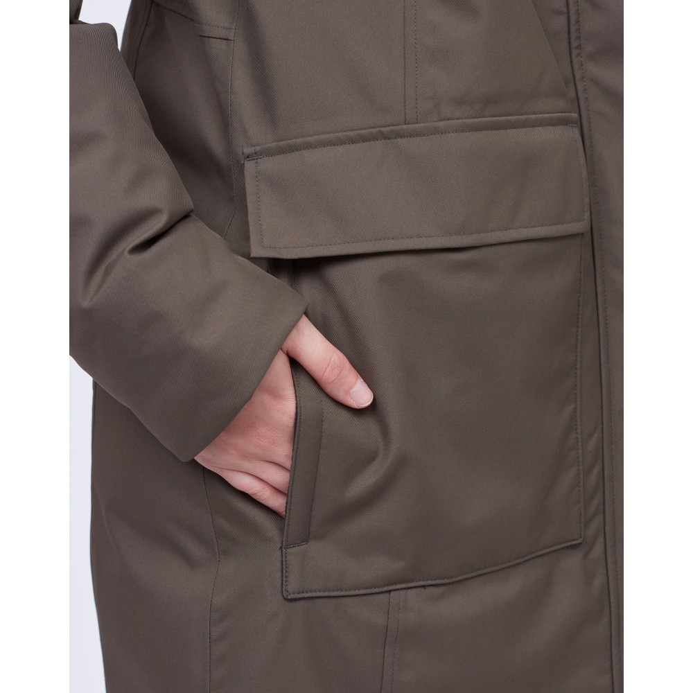 tentree Daily Parka Womens Black Olive Green