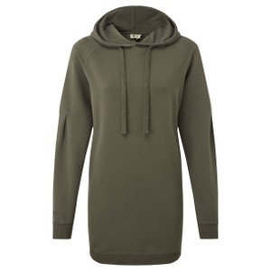 French Terry Hoodie Dress Womens Black Olive Green