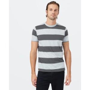 tentree Rugby Stripe T-Shirt Mens in Dark Grey Heather/Hi Rise Grey Heather Rugby Stripe