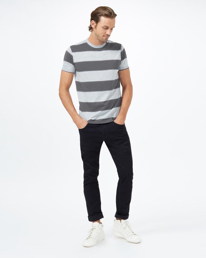 tentree Rugby Stripe T-Shirt Mens Dark Grey Heather/Hi Rise Grey Heather Rugby Stripe