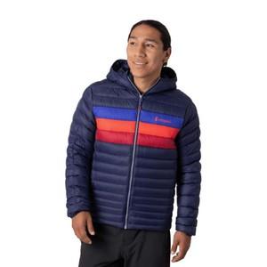 Fuego Down Hooded Jacket Mens Maritime & Blue Violet Stripes