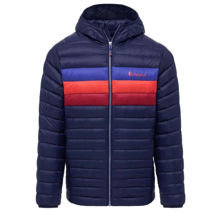 Cotopaxi Fuego Down Hooded Jacket Mens Maritime & Blue Violet Stripes