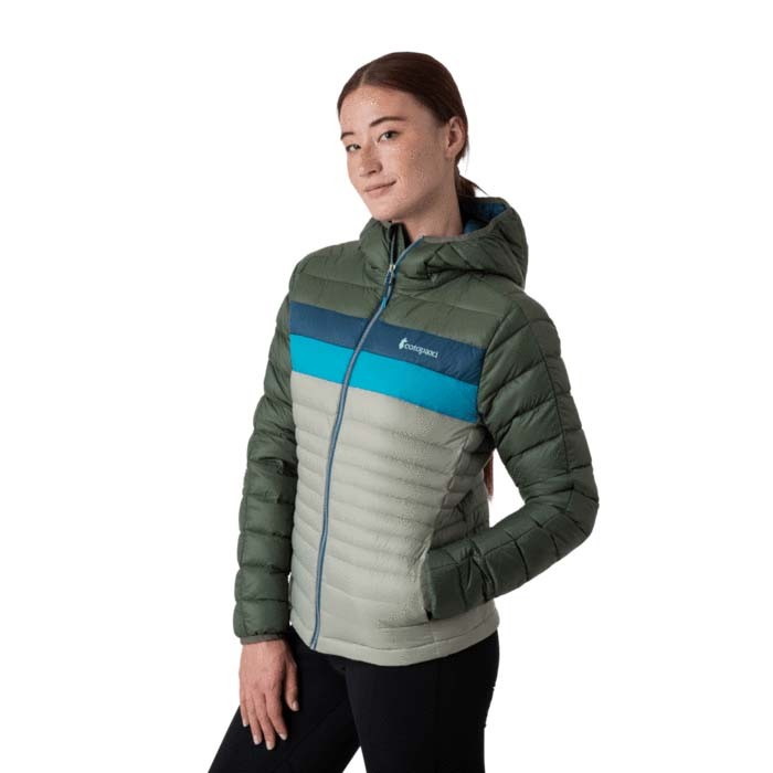 Cotopaxi Fuego Down Hooded Jacket Womens Spruce & Brush