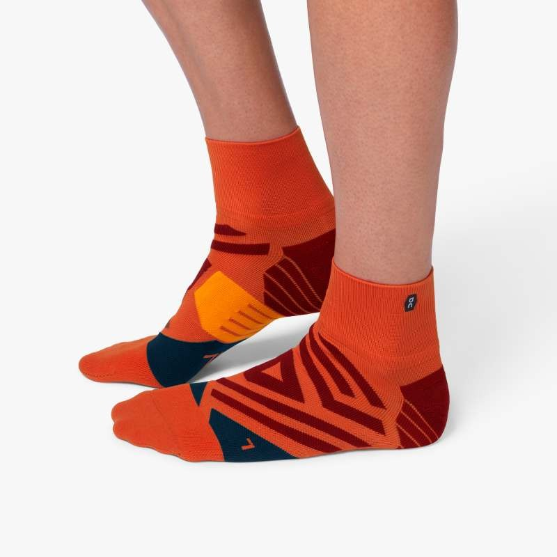 On Running Mid Sock Mens Rust/Navy