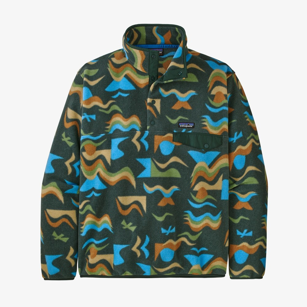 Patagonia LW Synchilla Snap-T Pullover Mens Arctic Collage:Northern Green