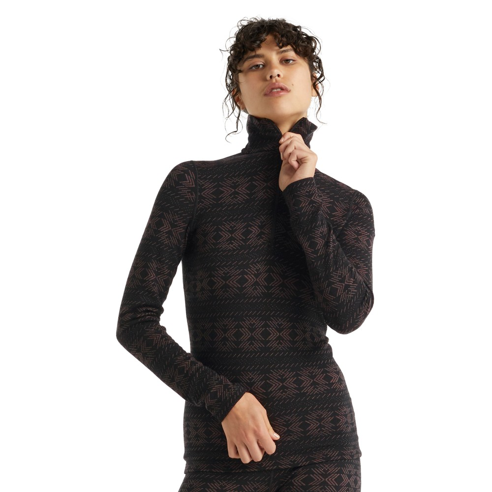 Icebreaker Vertex 250 LS Half Zip Crystalline Womens Black/Mink